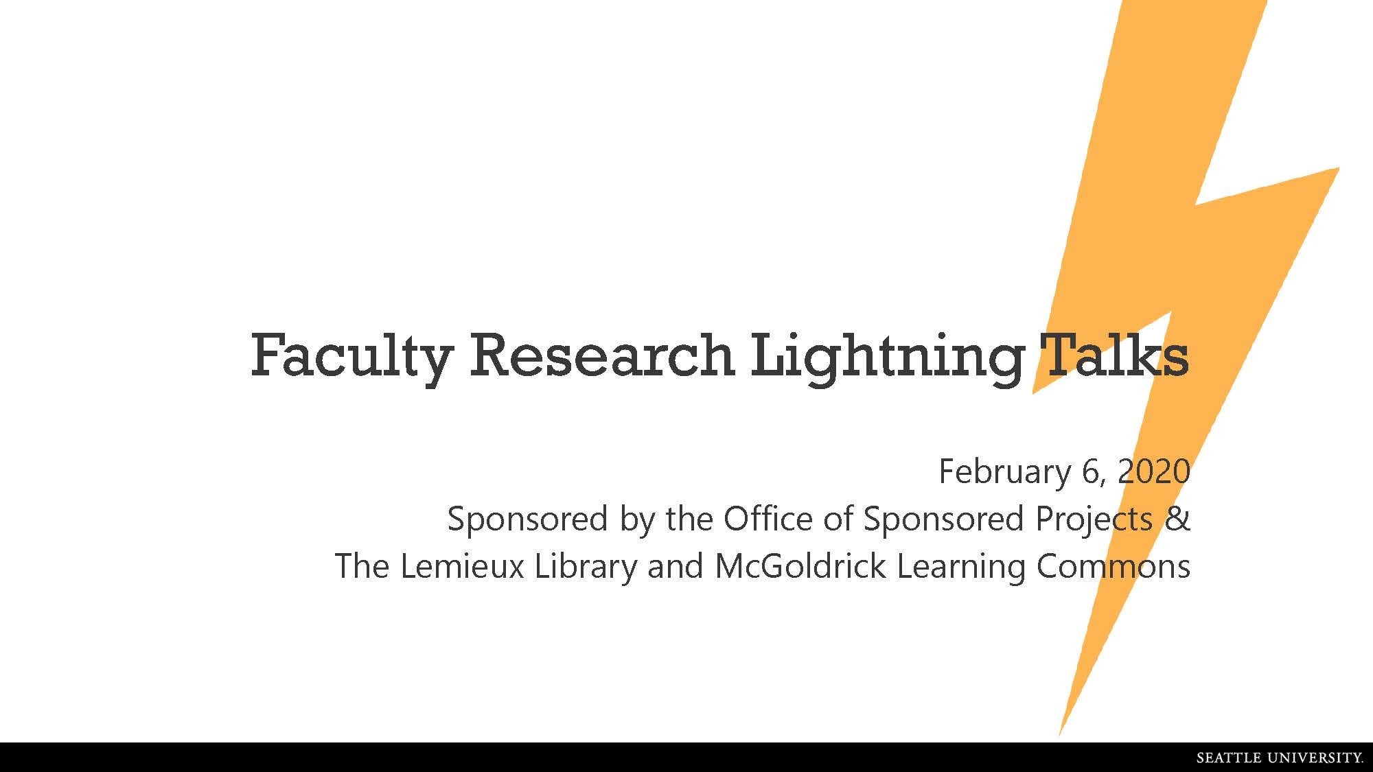 Faculty Lightning Talks 2020