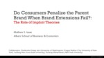 Do Consumers Penalize the Parent Brand When Brand Extensions Fail?: The Role of Implicit Theories