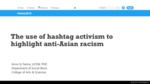 The Use of Hashtag Activism to Highlight Anti-Asian Racism